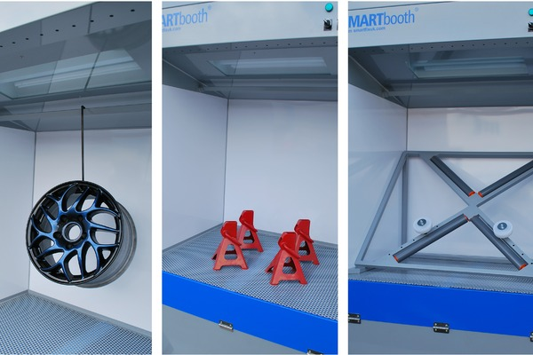 SMARTbooth hanging rail, worktop and alloy wheel rack options