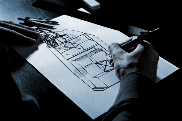 Designer drawing van instalation